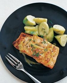 This dish is casual enough for a family dinner and elegant enough to serve to company. To keep the fillets from sticking to the pan, cook them with the skin side of the fish down. Some of the skin may stick to the pan a bit, but you can use a spatula to slide the fillets right off the pan without tearing them.