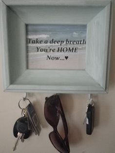 Beach Themed Repurposed  Frame Key Holder Take a by CBEUsedBlues, $22.95