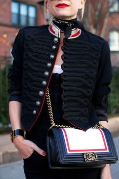 A band jacket and chanel purse // Fashion details on Atlantic-Pacific Winter Outfits, Casual Outfits, Fashion Outfits, Womens Fashion, Militar Jacket, Band Jacket, Fall Winter 2017, Girls Uniforms, Fashion Sites