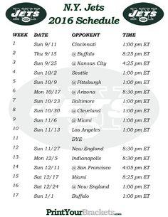 Printable N.Y. Jets Schedule - 2016 Football Season