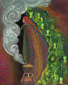 Witches Brew- Art Nouveau Pagan Goddess, by Emily Balivet