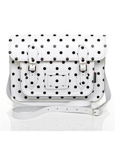 White and Black Polka Dot Leather Satchel