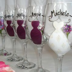 Bride and Bridesmaid wine glasses! Could make out of ceramic at a paint your own pottery place too!