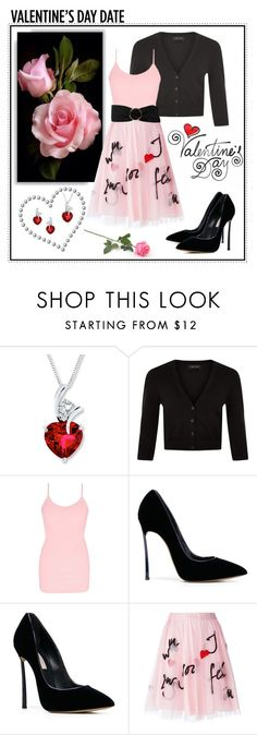 """""""~Valentine's Day Date~"""" by justwanderingon ❤ liked on Polyvore featuring Lab, New Look, BKE core, Casadei, P.A.R.O.S.H. and MANGO"""