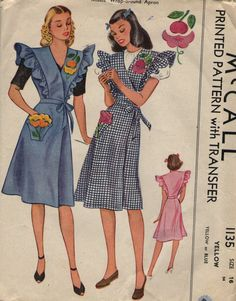 McCall 1135 Apron Sewing Pattern Vintage Size 16 Uncut Wrap Around Style Transfer Included Retro Apron Patterns, Vintage Apron Pattern, Aprons Vintage, Vintage Sewing Patterns, Clothing Patterns, Comfy Dresses, 1940s Dresses, Wrap Dresses, 1940s Fashion