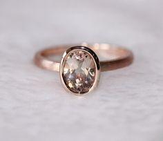 New Bezel Oval 6x8mm VS Morganite Ring14K Rose Gold by AdamJewelry, $239.00