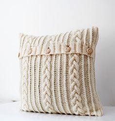 Julie - Housse coussin tricot ivoire en 16'x16'
