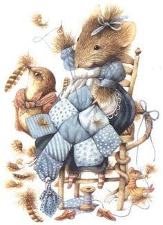 Marjolein Bastin, Vera the Mouse illustration. Beatrix Potter, Images D'art, Art Mignon, Marjolein Bastin, Nature Artists, Cute Mouse, Sewing Art, Dutch Artists, Children's Book Illustration