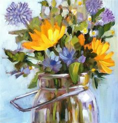 """Daily Paintworks - """"Sunny Blue and Yellow"""" - Original Fine Art for Sale - © Libby Anderson"""