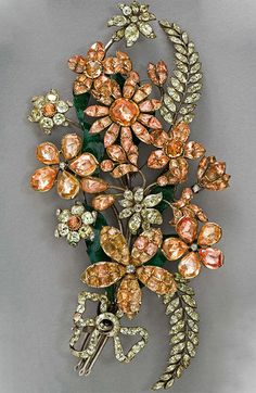 Bouquet brooch, Portugal, the second half of the 18th century, topazes, diamonds, crisoberilos, enamel, silver, 16.8 x 8.8 cm