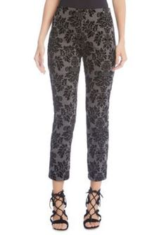 Karen Kane Women's Embossed Velvet Piper Pants - Gray - Xl