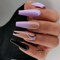 Purple Acrylic Nails, Acrylic Nails Coffin Short, Best Acrylic Nails, Black And Purple Nails, Coffin Nails, Edgy Nails, Stylish Nails, Swag Nails, Ongles Bling Bling
