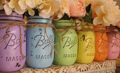 Hand Painted & Distressed Rainbow Pastel Vintage Mason Jar Vases * Shabby Chic Turned Into Everyday Decor * DIY * Perfect Spring or Easter Mason Jar Decor Inspiration! * Romantic Country Living! Perfect for Summer wedding or baby shower!