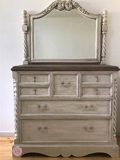 Miss Lillians no wax chock paint products used to revamp this dresser. Dresser With Mirror, Office Ideas, Living Room Decor, Wax, Im Not Perfect, House, Painting, Furniture, Home Decor