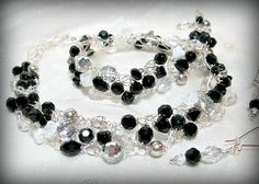 Crystal, Black and White beaded wire crochet necklace set by HettyMarie