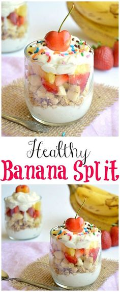 - A healthy banana split parfait! Enjoy this skinny version of dessert for breakf… A healthy banana split parfait! Enjoy this skinny version of dessert for breakfast or dessert! Parfait Desserts, Parfait Recipes, Snack Recipes, Dessert Recipes, Sweet Recipes, Chef Recipes, Mini Desserts, Dessert Ideas, Smoothie Recipes