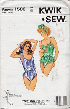 Kwik Sew 1586 1980s Misses  Lingerie Pattern Silky Teddy  womens vintage sewing pattern by mbchills