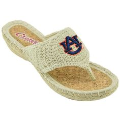 Women's Campus Cruzers Auburn Tigers Pregame Flip-Flops (€11) ❤ liked on Polyvore featuring shoes, sandals, flip flops, slip on sandals, crochet wedge sandals, beige sandals, slip-on shoes and wedge heel sandals