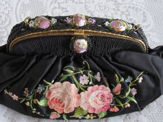 1920's French Tambour & Beaded Satin Purse w/Limoges Style Cameo's