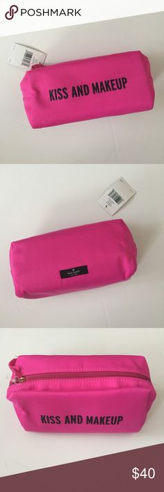 Kiss and makeup cosmetic bag NWT! Phone pictured is iPhone 6 Plus. iPhone not included. kate spade Bags Cosmetic Bags & Cases