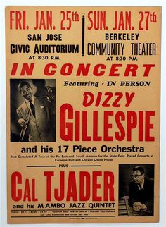 Jazz trumpeter Dizzy GIllespie and percussionist Cal Tjader Concert Posters, Music Posters, Band Posters, Big Band Jazz, Canvas Wall Art, Wall Art Prints, Dizzy Gillespie, Afro Cuban, Classic Jazz