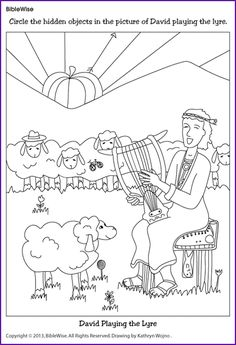 david plays harp for saul coloring page - god helps david protect his sheep and god 39 s army kids