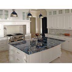 #BlueAgate, Stunning Kitchen Featuring Blue Agate Semi-Precious Stone. Picture courtesy of:Jason Alexander interiors,  fabrication by EuroStar Marble & Granite. www.marbleoftheworld.com