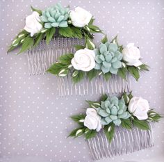 Succulent, bridesmaids hair comb, bridesmaids hair accessories. Real touch succulent. https://www.etsy.com/ru/shop/FlowersofSharon?ref=hdr_shop_menu
