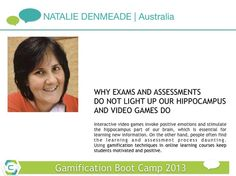 Create motivating and engaging online courses through #gamification techniques. Natalie Denmeade | Australia.  Gamification Boot Camp on April 24 & 25, 2013.