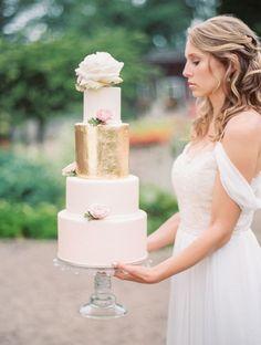 Blush Wedding Cake with Metallic Gold Foil and Garden Roses | Kristin la Voie Fine Art Wedding Photographer | http://heyweddinglady.com/rainy-day-wedding-shoot-english-garden/