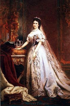 Elisabeth's Coronation Gown (as Queen of Hungary) designed by Worth, here photographed by Emil Rabending, and portrayed in art by Georg Raab, Wagner Sándor and Székely Bertalan.