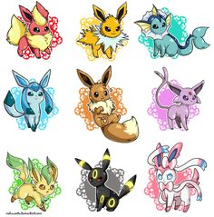 My favorite Pokemon are the eeveelutions (in order top left to right, sorry if I misspell something) Flareon- fire, Jolteon- electric, Vaporeon- water, Glaceon-ice, Eevee- normal, Espeon- psychic, Leafeon- grass, Umbreon- dark, Sylveon- fairy