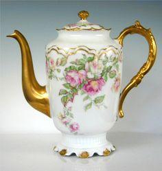 Elite Limoges -Coffee Pot -  Rose Motif - Gold Relief - Limoges  Made in France - Limoges China