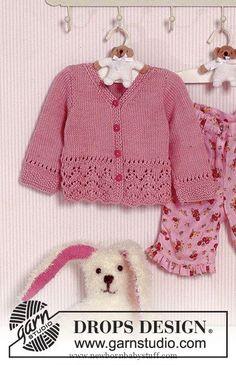 Baby Knitting Patterns Precious Emilia / DROPS Baby – Jacke mit Lochmuster in Muskat Baby Knitting Patterns, Baby Cardigan Knitting Pattern Free, Baby Sweater Patterns, Knitted Baby Cardigan, Knit Baby Sweaters, Knitted Baby Clothes, Knitting For Kids, Baby Patterns, Free Knitting
