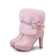 Women Boots Autumn Winter Warm Fur 2018 New Sexy Fashion Pu Mid-calf Motorcycle Snow Boots Black Pink White High-heeled Shoes High Heels For Kids, Cute High Heels, Kid Shoes, Girls Shoes, Shoes Heels, Lila Outfits, Wedding Boots, High Heel Boots, Ankle Boots