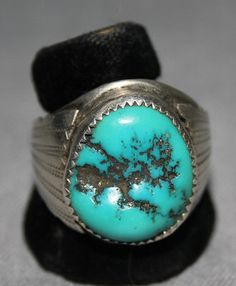 $285  Gent's Silver Ring with Single Large Turquoise Stone, Jewelry by Navajo