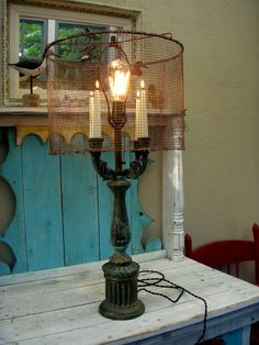 The Freakin' Coolest Lamp You Ever Did See - Electric and Candlelight in One - OOAK From HoneTreasures on Etsy!!