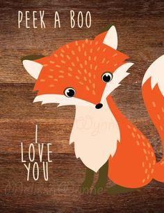 Art print on Paper - Woodland Fox Nursery Art-Peek a Boo, I Love You - Woodland Nursery Theme - Fox Themed Nursery, Woodland Nursery Girl, Fox Nursery, Girl Nursery Themes, Woodland Baby, Baby Boy Nurseries, Nursery Art, Woodland Forest, Nursery Ideas