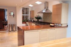 One of our customers glorious kitchens in situ. In this photograph you can see our Walnut worktops with drop down mitre panel and up stands. Walnut Worktops, Kitchen Worktop, Work Tops, Norfolk, Kitchen Ideas, Kitchens, Photograph, Drop, Table