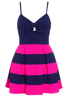 Summer dress~by Jaeger; I always love navy blue and hot pink together and the stripes, pleats, cute little bow & spaghetti straps make this dress exceptionally sweet!