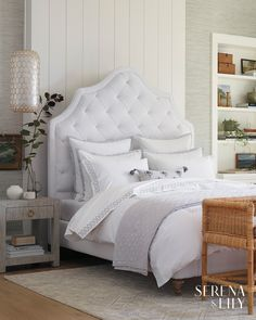 Our versatile coverlet works beautifully as a bedding layer in this neutral bedroom with embroidered bedding. Coastal Bedrooms, Guest Bedrooms, Guest Room, Bedroom Wall, Bedroom Decor, Master Bedroom, Bedroom Ideas, White Bedroom, Girls Bedroom