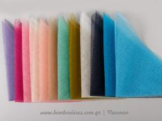Ύφασμα γάζα, κομμένη για μπομπονιέρες σε χρώματα