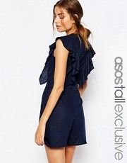 ASOS TALL Ruffle Romper With Button Back