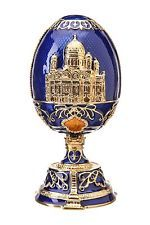 Russian Faberge Egg Christ the Saviour Cathedral Moscow 4.7'' (12cm) blue