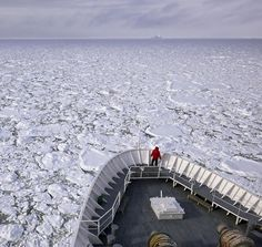 A ship pushes through the ice pack in Grandidier Channel. #Antarctica #aerialview  Photo by @jimrichardsonng