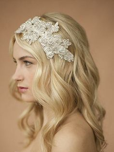 Romantic bridal hairband for her wedding day in white or ivory lace has Swarovski crystals - handmade on ribbon. http://www.weddingaccents.com/accessories/ma-4099hbw-ivorylace-weddingheadband.htm