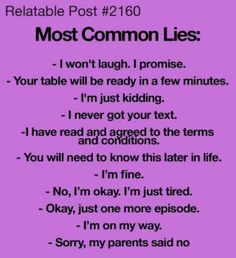 #Relatable post heh heh. Repin if you've tried at least one of these lies!!