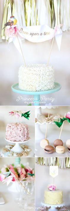 Princess Party DIY Cake Toppers! I love all the little details with the ribbon and flowers. So gorgeous!