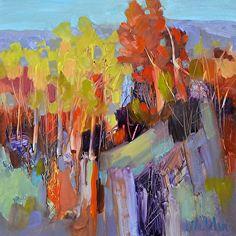Autumn Mountain Side by Judy Wilder Dalton Oil ~ 8 x 8