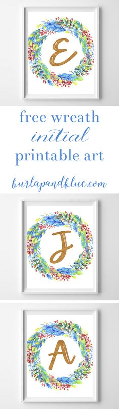 free printable--feathers and berries initial printable art! perfect for fall / winter / christmas decorating! This printable art features a colorful winter wreath.